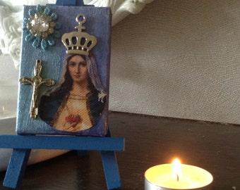 Mixed media mini canvas. Virgin Mary