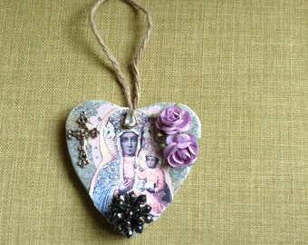 Hand decorated heart shaped slate, The Black Madonna