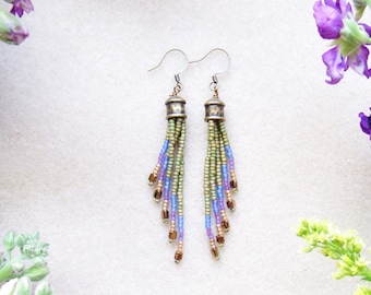Beaded Earrings > boho Beaded earrings > Seed Bead Earrings > Seed Bead Jewelry > bohemian > Beaded Fringe Earrings > Earthy
