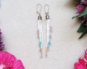 Beaded Fringe Earring > Boho Beaded Earrings Handwoven with Needle and Thread > Ivory Beaded  > Seed Bead Earrings > Bohemian > Gypsy