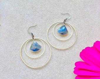 Labradorite earrings, Natural Stone Earrings, Gemstone Jewelry, Boho Earrings, Bohemian Jewelry, Hoop Earrings, Gift for Her, OOAK