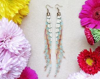 Beaded Fringe Earrings, Boho Beaded Earrings, Long Seed Bead Earrings, Tribal Beaded Earrings, Long Dangly Earrings, Bohemian Jewelry