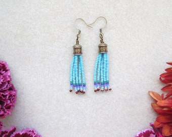 Short Seed Bead Earrings with Turquoise Fringe > Bohemian Beaded Earrings > unique gifts for her > Boho Chic > Gypsy Vibes