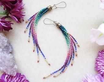 Beaded Fringe Earrings, Long Seed Bead Earrings, Boho Beaded Earrings, Beaded Earrings, Bohemian Earrings