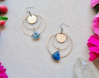 Labradorite Stone Earrings, Gemstone Jewelry, Natural Stone Earrings, Faceted Labradorite Earrings, Hoop Earrings, Labradorite Hoop Earring