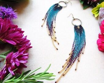 Bohemian Beaded Earrings, Long Beaded Earrings, Boho Beaded Earrings, Long Seed Bead Earrings