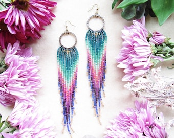 Boho Beaded Earrings, Handwoven Earrings,  Long Seed Bead Earrings, Gift For Her, Beaded Fringe Earrings, Handmade Jewelry, HIppie Chic