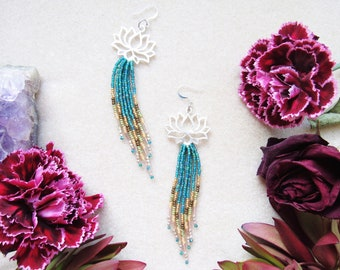 Boho Beaded Fringe Earrings > Beaded Fringe Handwoven around Silver Lotus > OOAK > Aquamarine > Bohemian > Gypsy > Statement Earrings