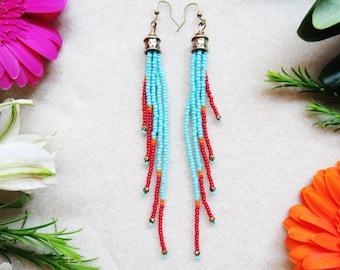 Beaded Fringe Earrings with Southwestern Vibe, Turquoise Beaded Earrings, Long Dangly Earrings, Boho Beaded Earrings, Bohemian Jewelry, OOAK