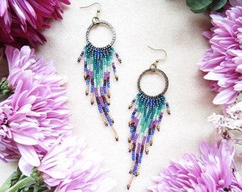 Boho Beaded Earrings Handwoven with Needle and Thread > Peacock Colored Fringe > Bohemian Beaded Jewelry > Gypsy> Beaded Fringe