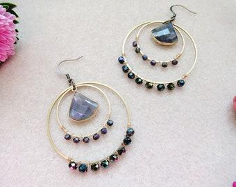 Boho Hoop Earrings, Labradorite Hoop Earrings, Natural Stone Earrings, Bohemian Jewelry, Faceted Gemstone Earrings, Beaded Earrings