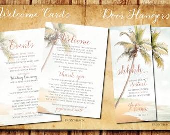 Door Hangers Wedding Welcome Bags Program Itinerary Cards | Blush Beach Destination Weddings | Resorts Jamaica Mexico Punta Cana Full Custom