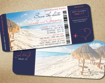Travel Boarding Pass Destination Wedding Save the Date  | Navy Blue Coral Accents | Plane Heart Ticket to Paradise