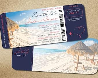 Hut Navy Boarding Pass Destination Wedding Save the Date