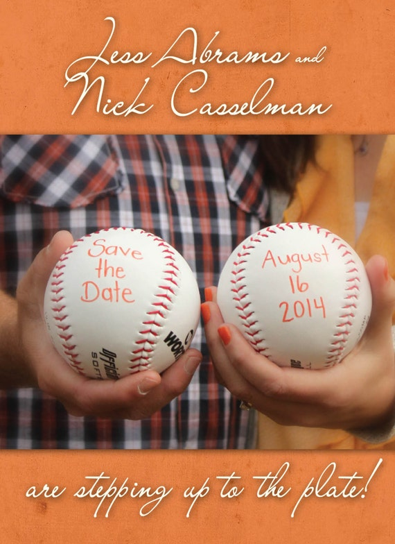 baseball save the dates for weddings fun bright colors etsy