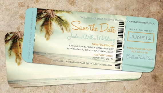 Boarding Pass Save Date Tropical Ticket Vintage Blue Etsy