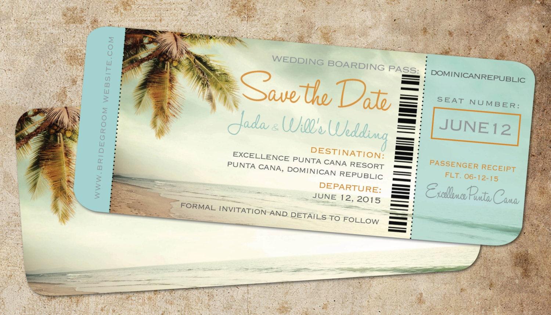Boarding Pass Save Date Ticket Vintage Blue Destination