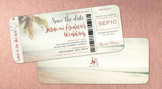 Rose Gold Boarding Pass Save The Dates Travel Destination Etsy