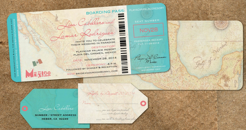 Wedding Boarding Pass Map Invitations Destination Travel