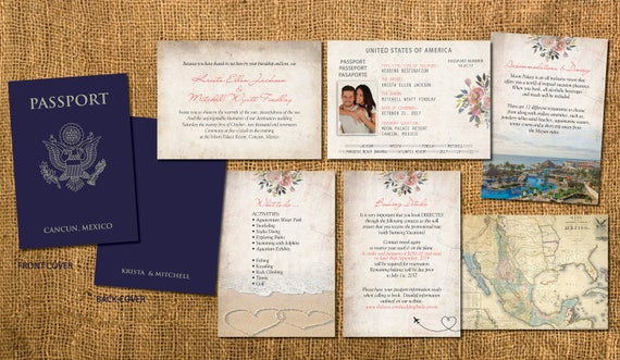 Passport Wedding Invitation Booklets Real Passport Style Etsy