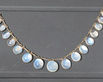 Gorgeous Victorian Moonstone Cabochon Fringe or Drop Necklace, Sterling Silver, Choker Length