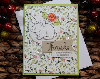 Thank You Greeting Card / Handmade Greeting Card / Blank Inside Greeting Card / Stamped Greeting Card / Just Because Greeting Cards