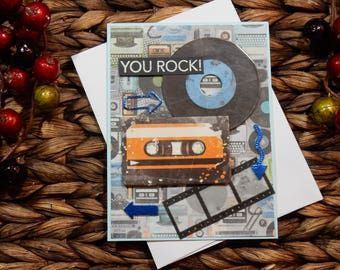 You Rock Greeting Card / Just Because Greeting Card / Handmade Greeting Card / Blank Inside Greeting Card / Stamped Greeting Card