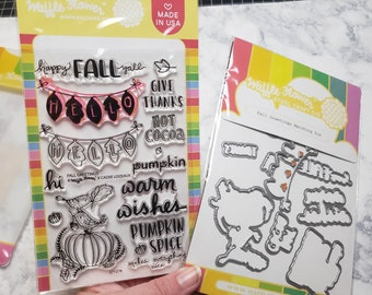 Waffle Flower Fall Greetings Stamp and Die Set