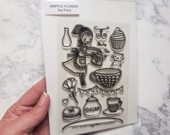 Waffle Flower Tea Party Stamp Set