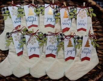 10 Christmas Stockings / Place Settings / Party Favors / Christmas Gifts / Christmas / Stockings