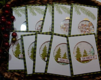 10 Christmas Greeting Cards / Blank Inside Greeting Cards / Greeting Card Set / Greeting Card Pack / Christmas Cards