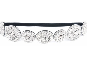 Style E - New Womens Thick Patterned Shimmering Bling Bridal Rhinestone  Elastic Jeweled Stretch Headbands 43a69d458e8