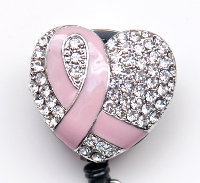 42d8f04131 New Custom Bling Rhinestone Breast Cancer Awareness Pink Ribbon Badge Reel  Retractable ID Badge Holder
