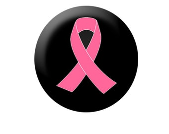 Pink Ribbon on Black Buttons/Pins
