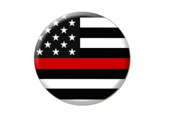 Thin Red Line Flag Buttons/Pins