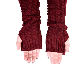 Fingerless Gloves, Long Arm Warmers, Cable Knit Long Gloves (Maroon)