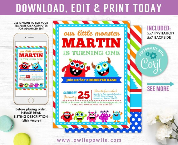 Monster Birthday Invitation Party Printable Template Bash
