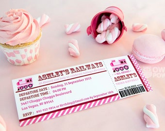 Pink Train BIRTHDAY Printable Boarding Pass 2.5 x 7 inch Invitation, INSTANT DOWNLOAD, You Edit Yourself with Adobe Reader