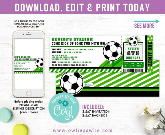 InvitationEtsy Soccer Invitations Editable Birthday Ticket Yf7y6vbg