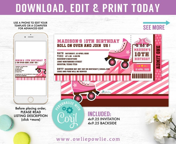 photo relating to Roller Skate Template Printable named Purple Roller Skate Ticket P Birthday Invitation Celebration