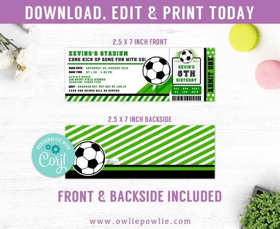 Fussball Ticket Einladungen Editable Geburtstagseinladung Fussball Einladungen Fussball Ticket Vorlage Sofortiger Download Druckbare Digital