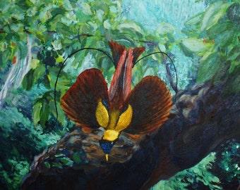 Muzy.  Bird Sanctuary, Tiburon, California, 48x24 acrylic on canvas.