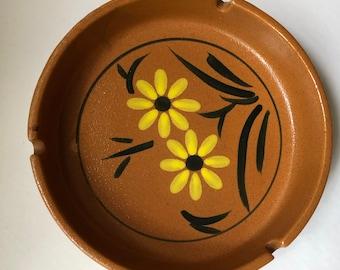 80's vintage hand painted stoneware ashtray