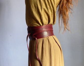 Ceinture large obi femme à nouer ,cuir souple bordeaux ,poche secrète 117413394ce