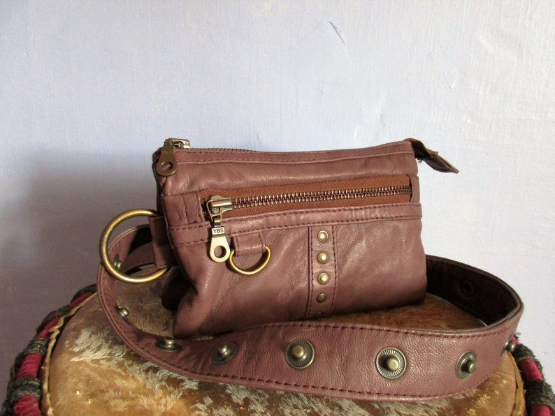 Brown leather studded Fanny Pack