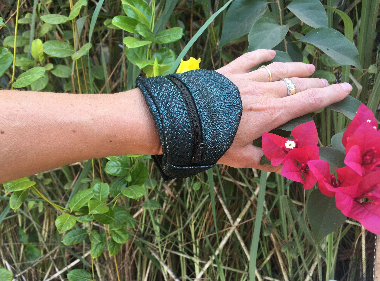 Coin holder for leather print leather tiger bracelet cuff festival concert