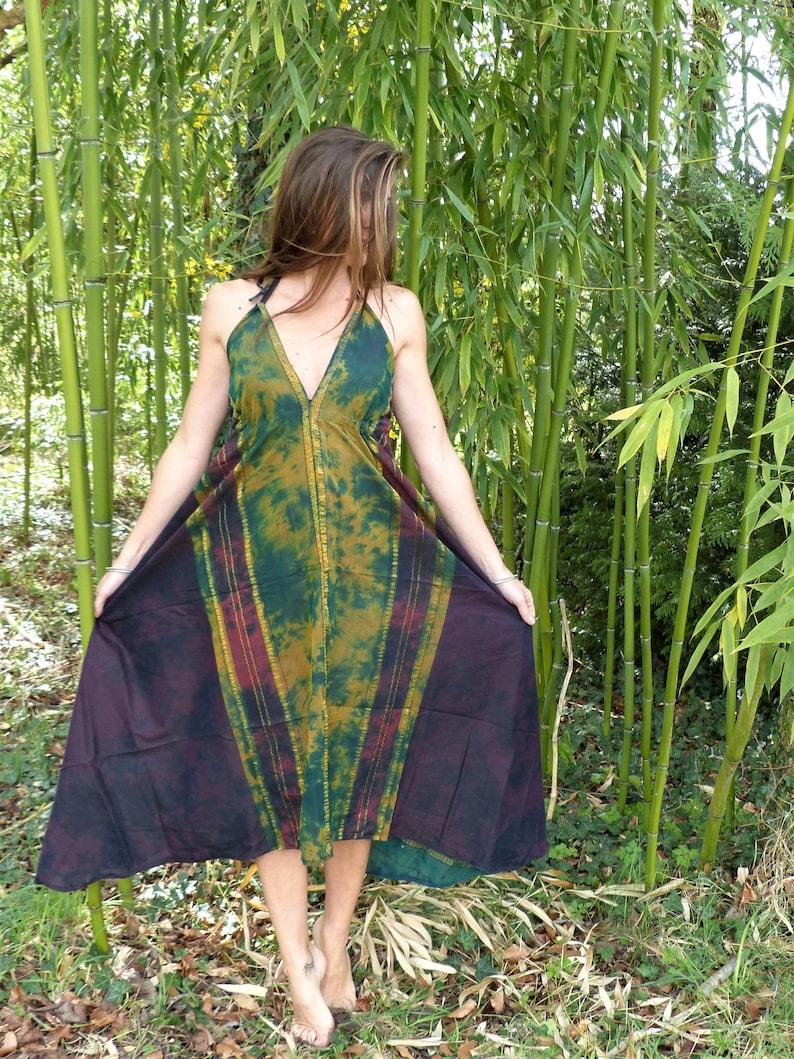 summer festival naked back beach Dress long ethnic tie dye cotton sari
