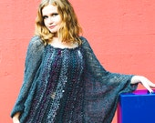 Light sweater Oversized womens tunic Caftan plus size Wide sleeves Lightwight grey sweater dress Festival clothing Bohemian style Loose knit