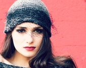 womens gift - veil beanie - beanie with veil - Valentine's gift -mature - trendy hats -veil hat - tuelle hat - 90s fashion