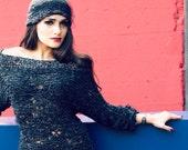 90s clothing Grunge sweater Loose knit Shoulder off sweater Fashion jumper Fall sweater 90 grunge clothing women Black